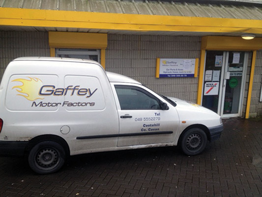 Gaffey Motor factors have three fully stocked delivery vans completing daily deliveries and sales to customers.)