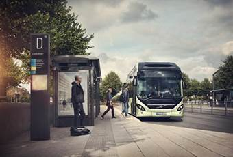 Volvo 7900 Electric Hybrid Bus stop)
