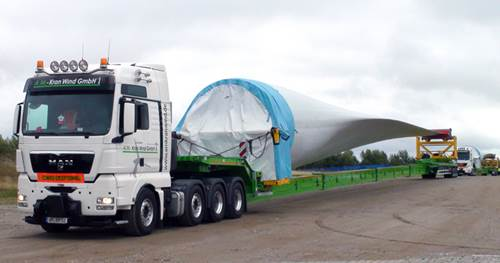 A.M. Kran Wind GmbH purchased 3 Nooteboom Super Wing Carriers for the transport of rotorblades up to 70 metres)