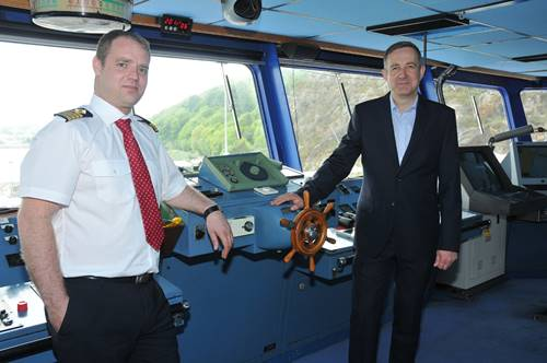 Master of the Stena Europe, Richard Cleary and Ian Davies, Stena Line's Trade Director, Irish Sea South)