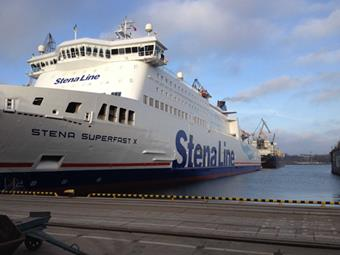 Stena Superfast X pictured at the shipyard in Gdynia, Poland, before its departure for Holyhead)