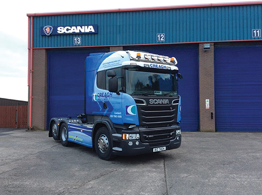 Greenhill Haulage Ltd. hauls out of the Ardboe, County Tyrone base mostly to Scotland and England.)