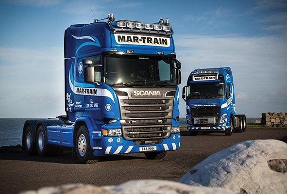 Mar-Train operate a fleet of 22 trucks between their two depots with Scania, Volvo, Mercedes and DAF making up the fleet.)