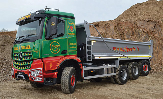 The truck epitomises PJ Gavin Sand & Gravel's commitment to providing customers with the best possible service.)